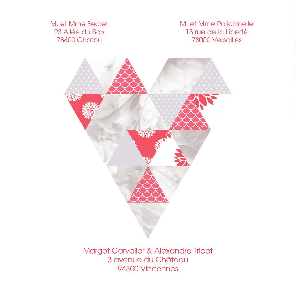 Faire-part de mariage Origami gris rose gratuit