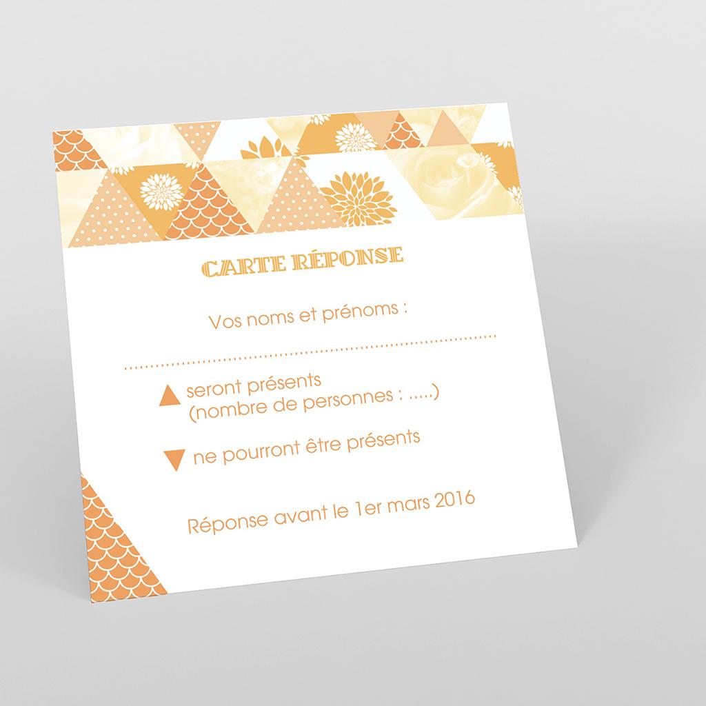 Carton réponse mariage Origami jaune
