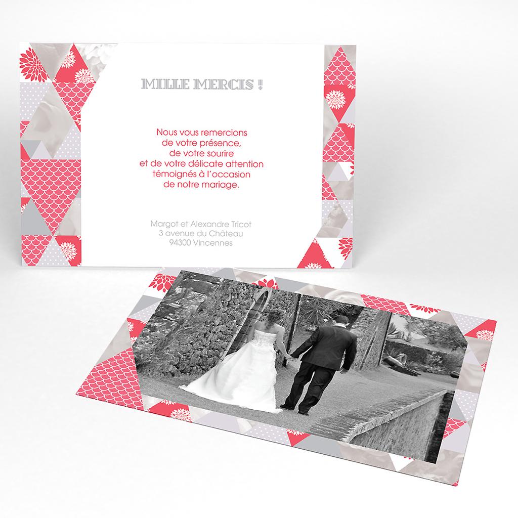 Carte de remerciement mariage Origami gris rose