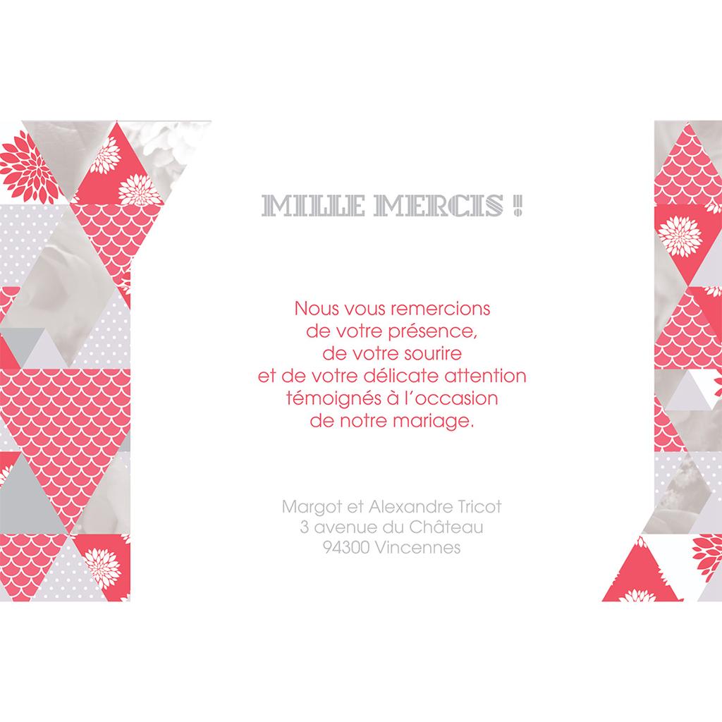 Carte de remerciement mariage Origami gris rose pas cher