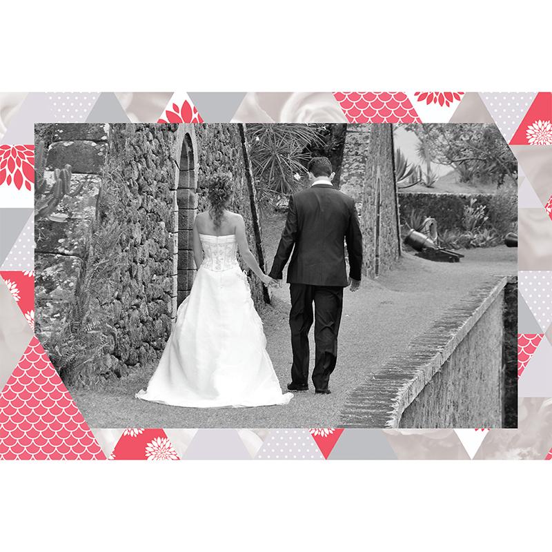 Carte de remerciement mariage Origami gris rose gratuit