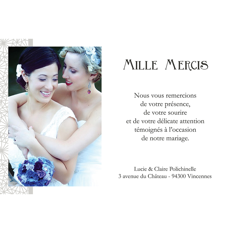 Carte de remerciement mariage Wedding 2 melles gratuit
