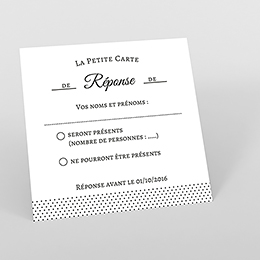 Carton réponse mariage Letter Press blanc