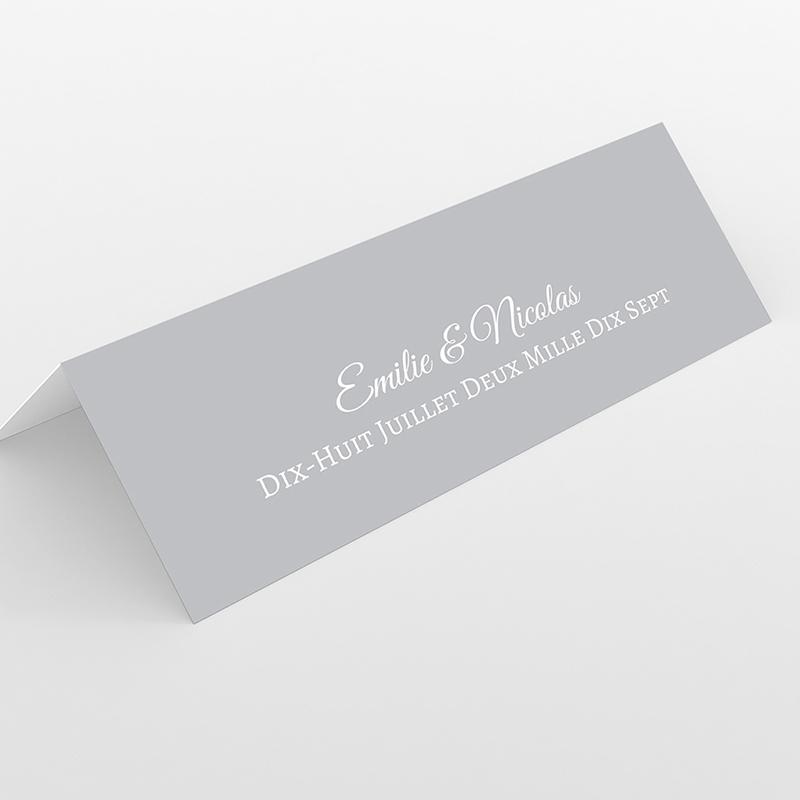 Marque-place mariage Letter Press gris