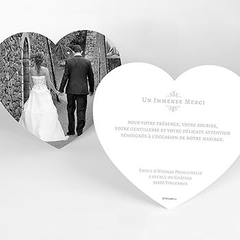 Carte de remerciement mariage Letter Press gris