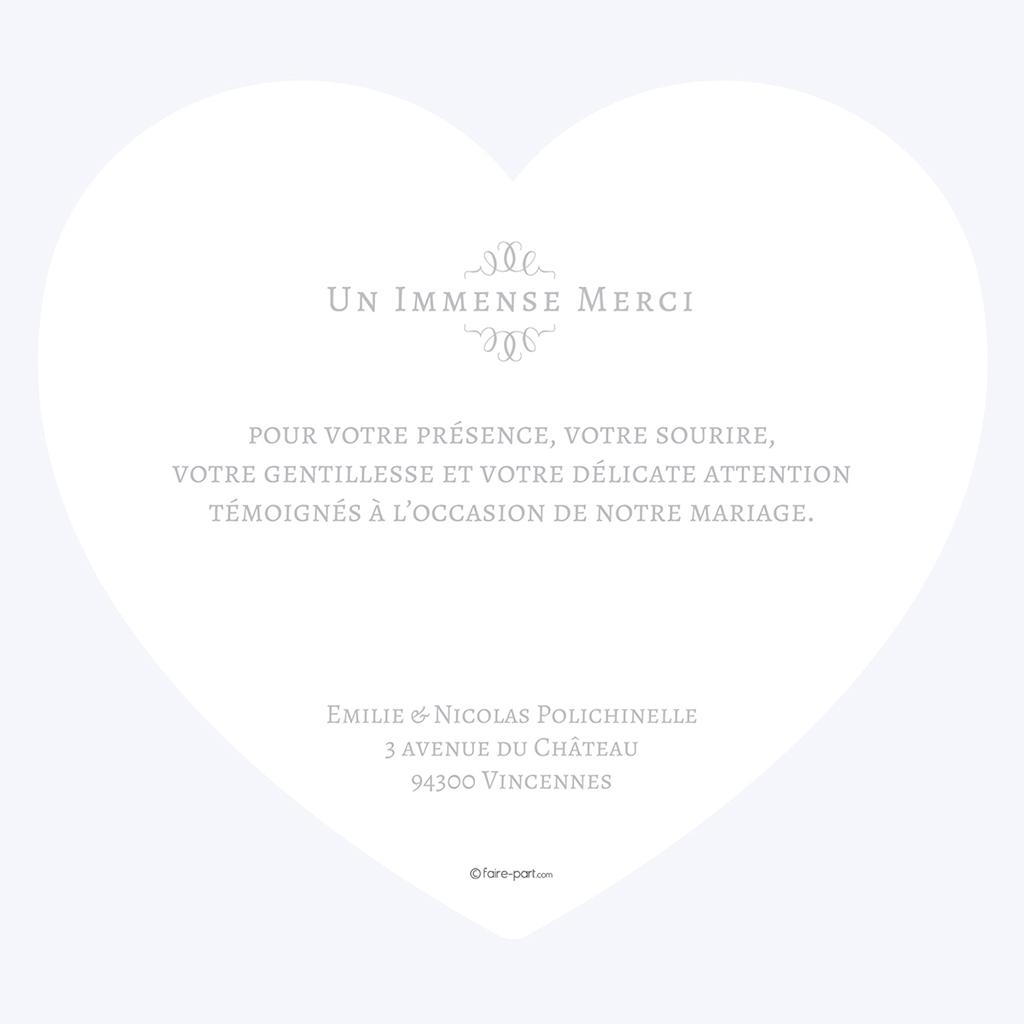 Carte de remerciement mariage Letter Press gris gratuit