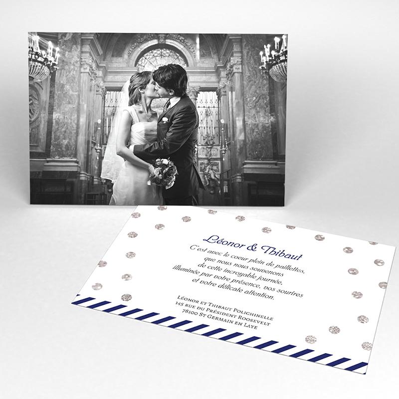 Carte de remerciement mariage Un jour d'amour bleu argent