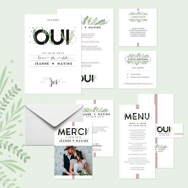 Carte d'invitation mariage Un Grand Oui gratuit