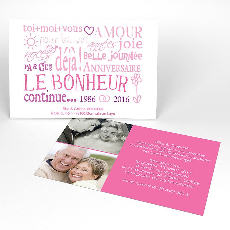 Carte anniversaire de mariage Jeu de mots rose