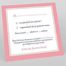 Carton réponse mariage Gris et Rose Poudré