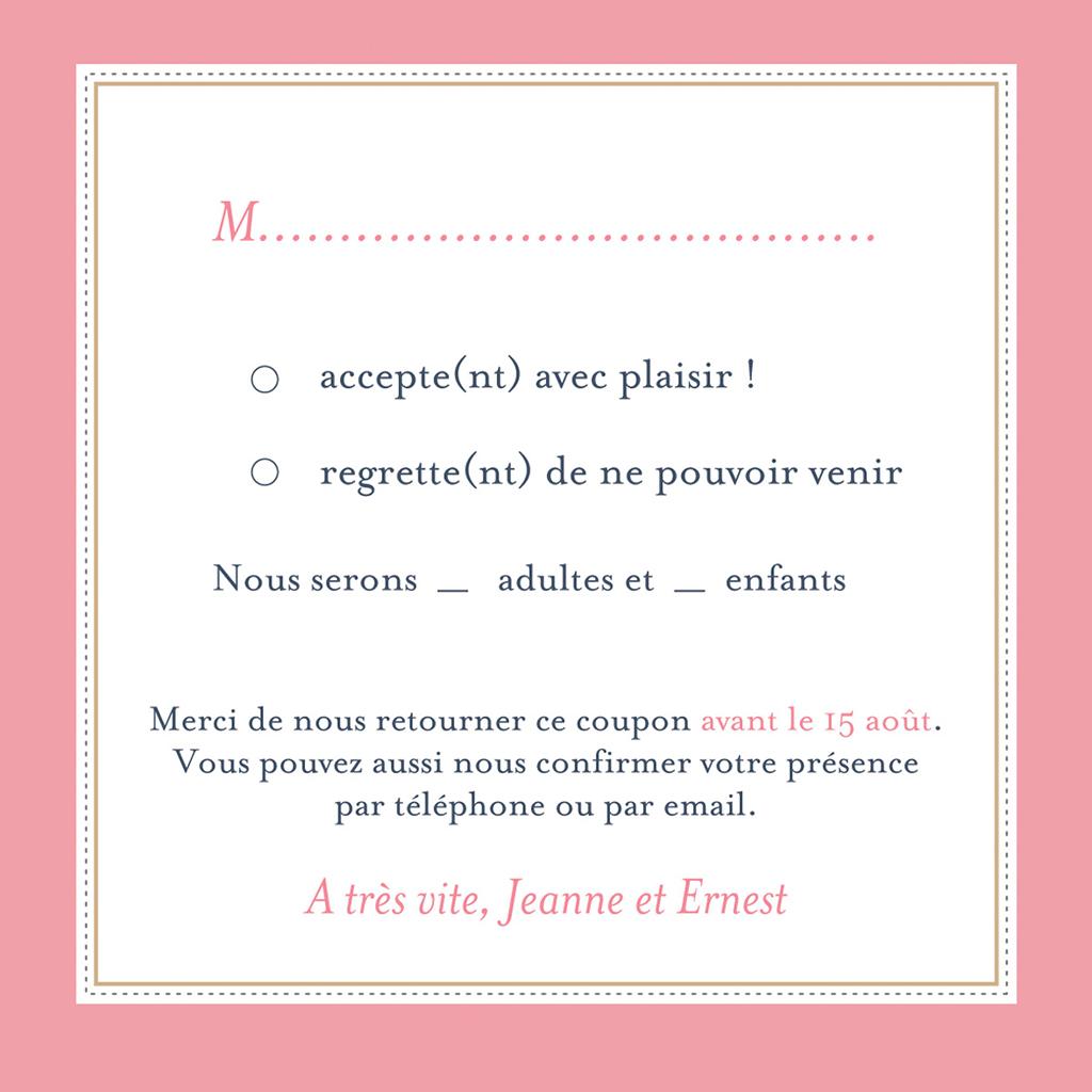 Carton réponse mariage Gris et Rose Poudré pas cher