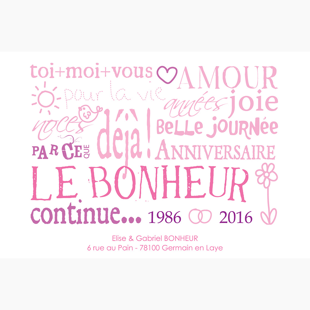 Carte anniversaire de mariage Jeu de mots rose pas cher