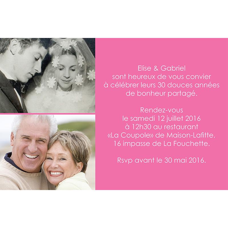 Carte anniversaire de mariage Jeu de mots rose gratuit