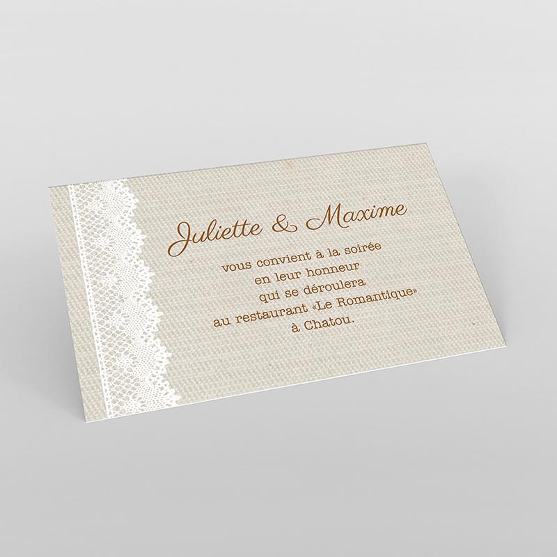 Carte d'invitation mariage Dentelle Vintage
