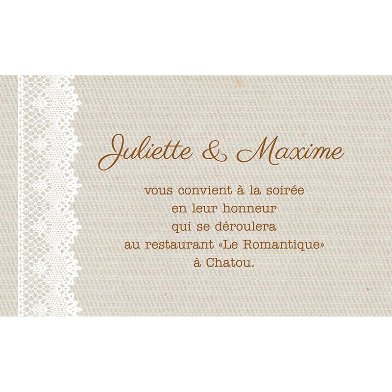Carte d'invitation mariage Dentelle Vintage pas cher