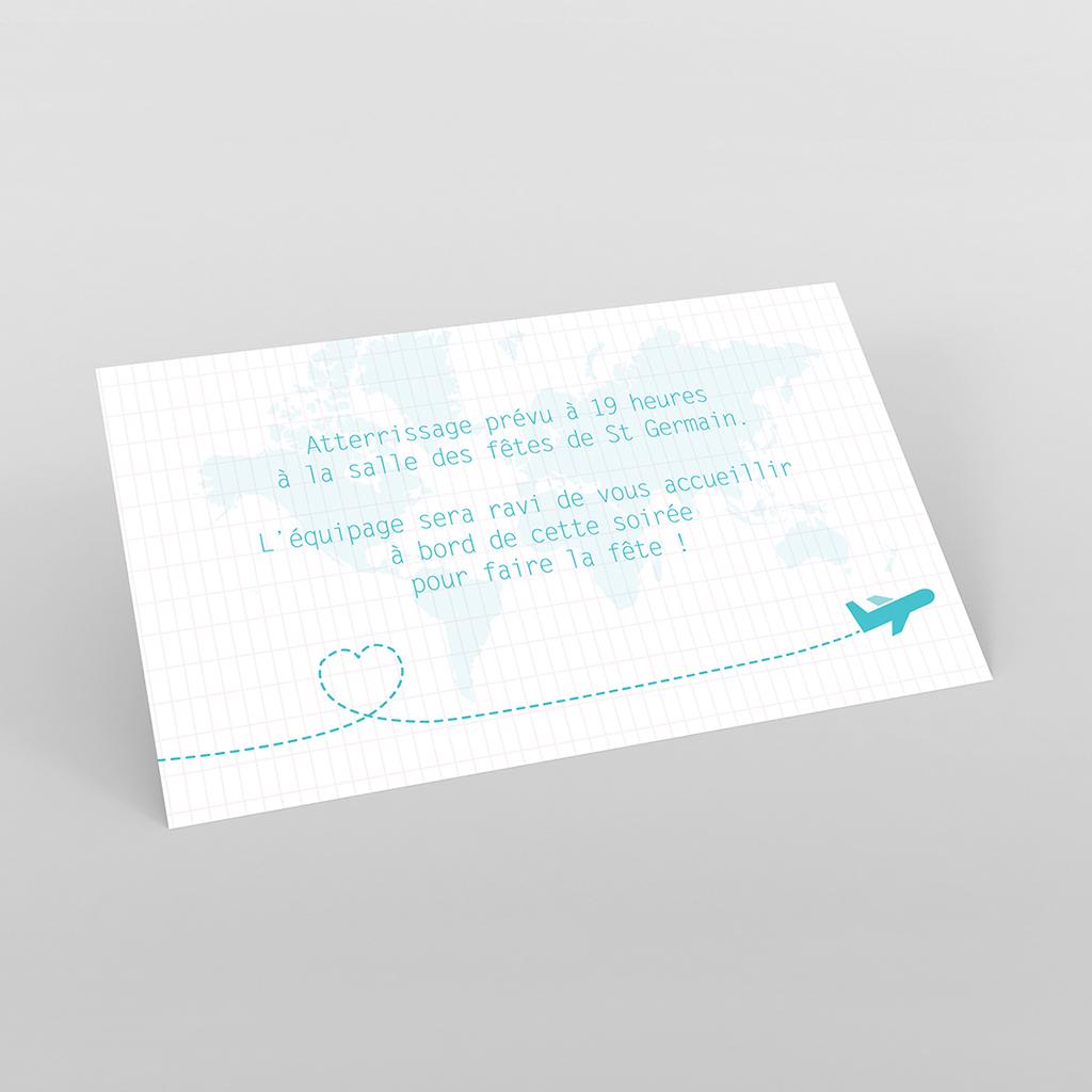 Carte d'invitation mariage Voyage bleu