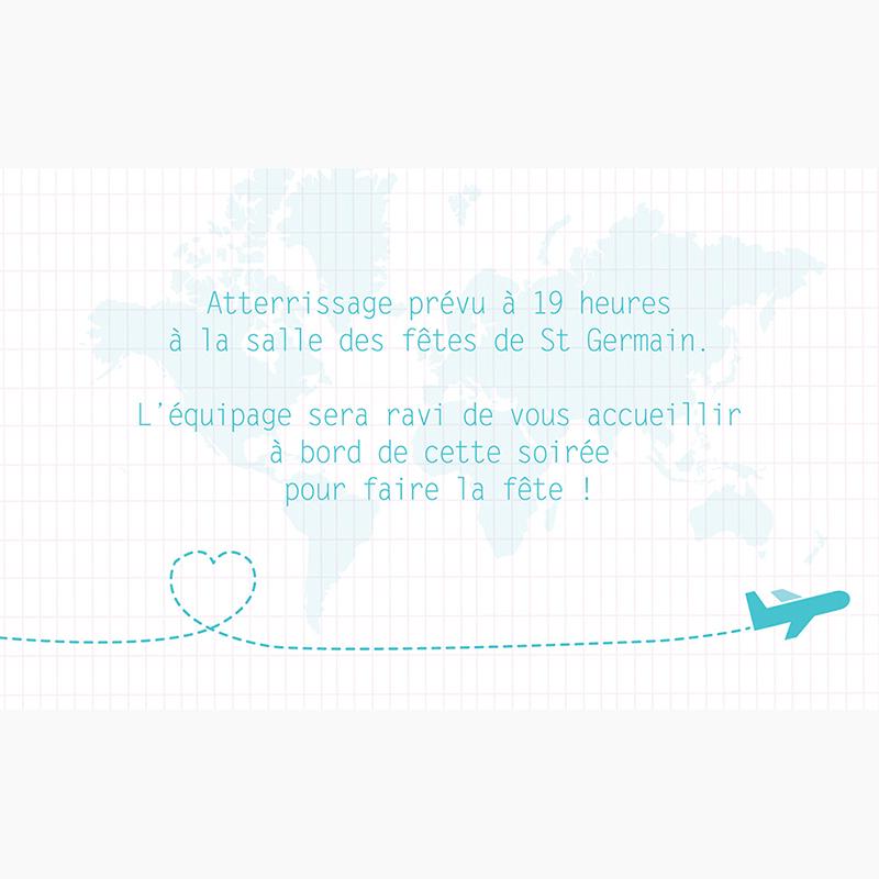 Carte d'invitation mariage Voyage bleu pas cher