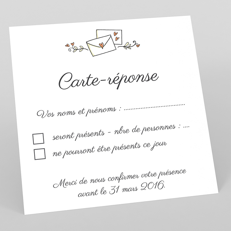 Carton réponse mariage Manège