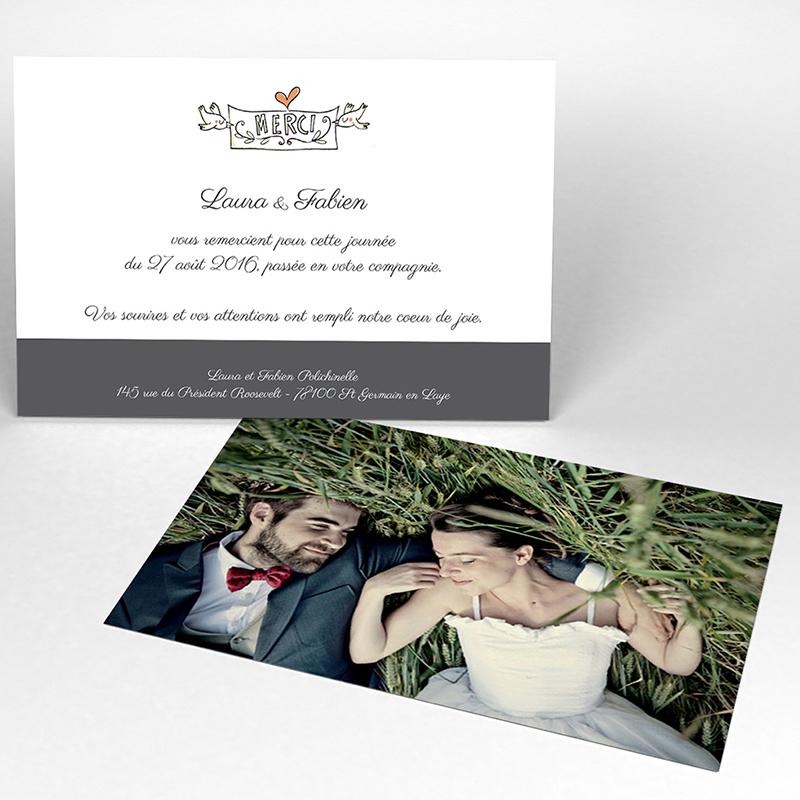 Carte de remerciement mariage Les Amoureux