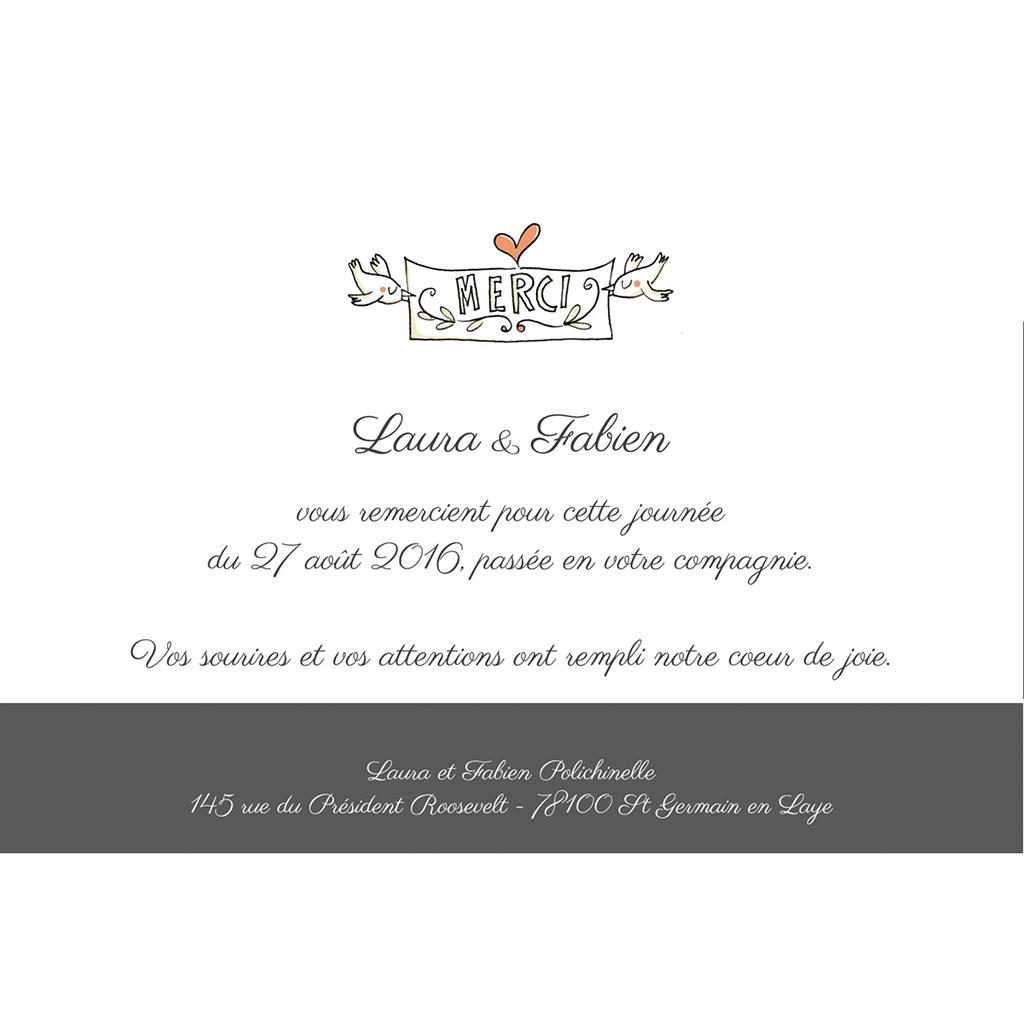 Carte de remerciement mariage Les Amoureux pas cher