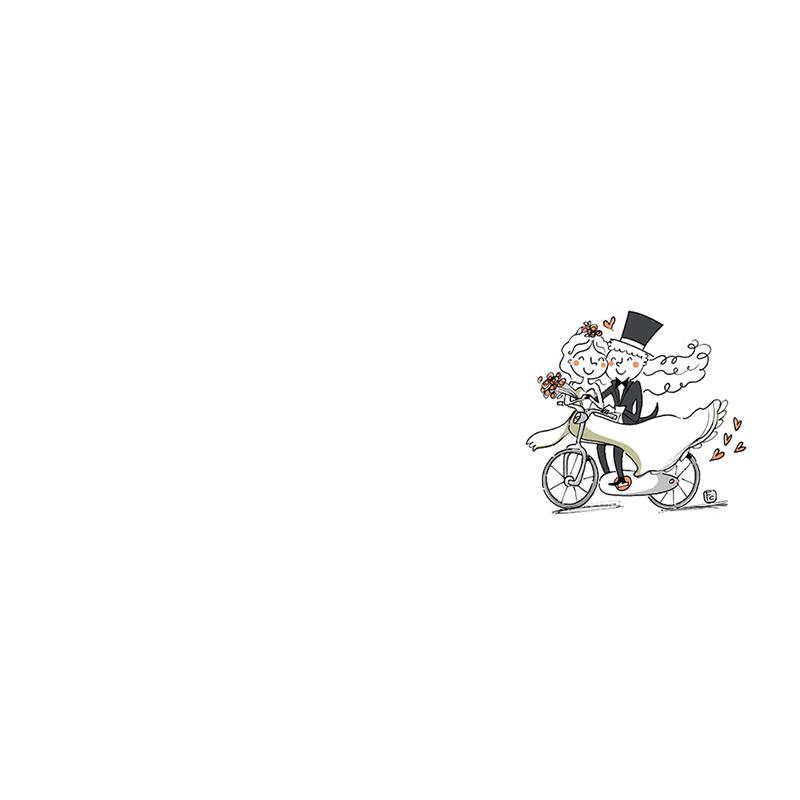 Marque-place mariage Vélo à deux pas cher