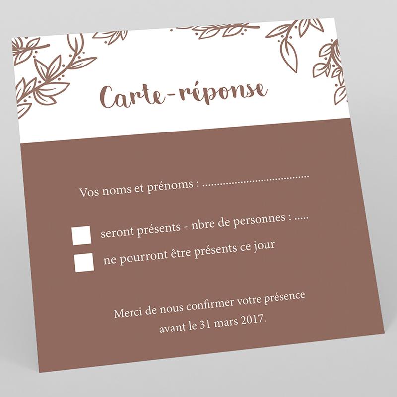 Carton réponse mariage Tendance bois