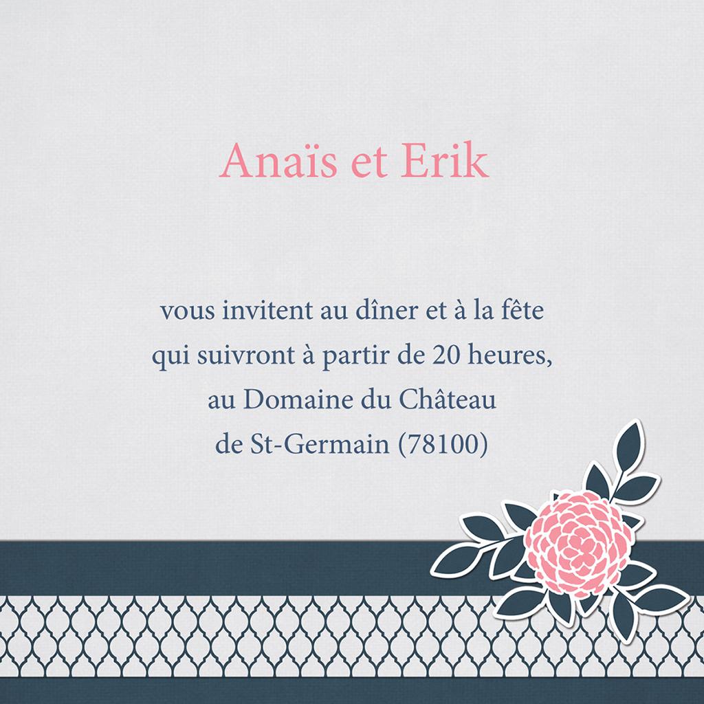 Carte d'invitation mariage Fleuri Chic pas cher