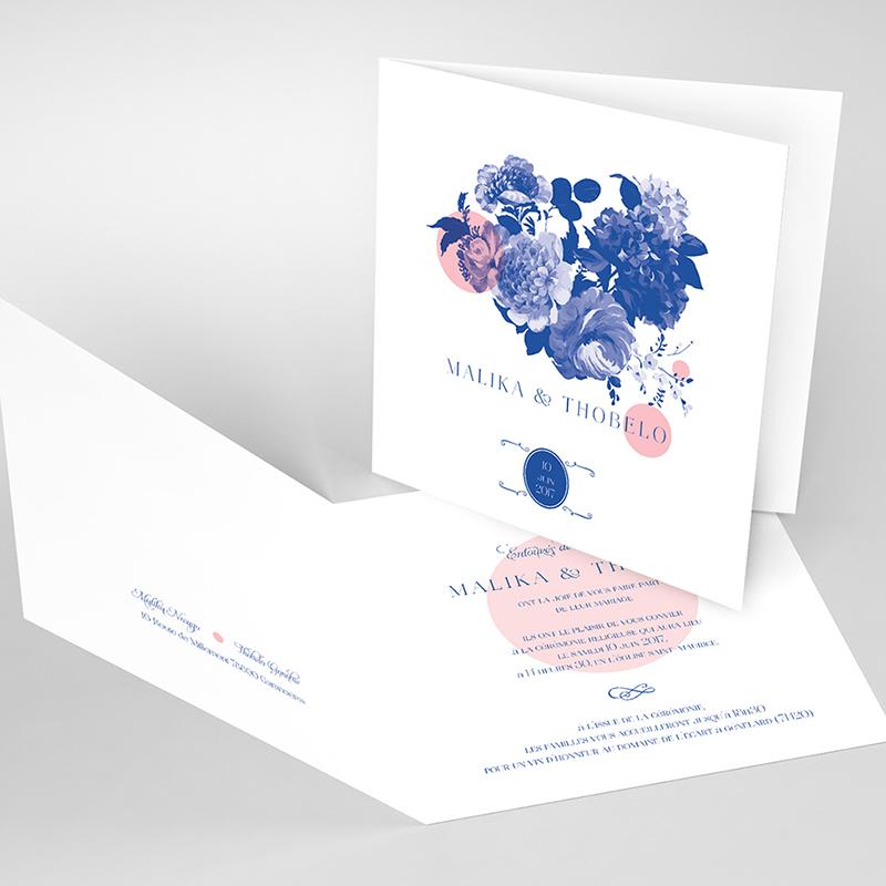 Faire-part de mariage Fleur Bleue Elégance
