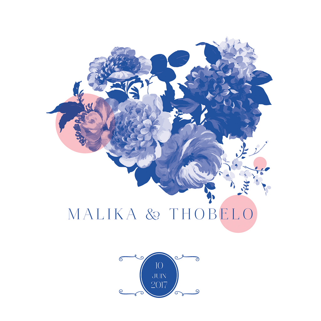 Faire-part de mariage Fleur Bleue Elégance pas cher