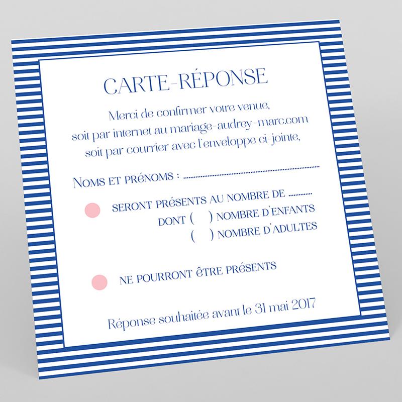 Carton réponse mariage Fleur Bleue Elégance