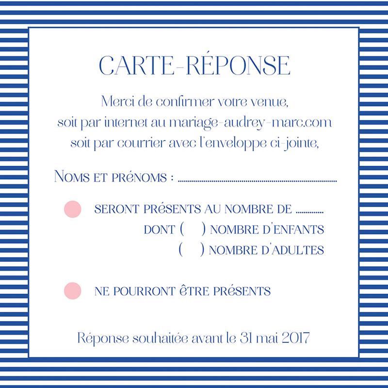Carton réponse mariage Fleur Bleue Elégance pas cher