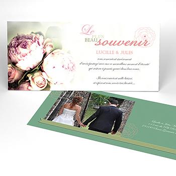 Carte de remerciement mariage Ruban