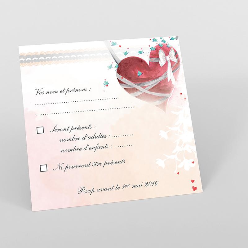 Carton réponse mariage Sensibilis coeur
