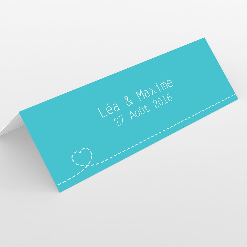 Marque-place mariage Voyage bleu