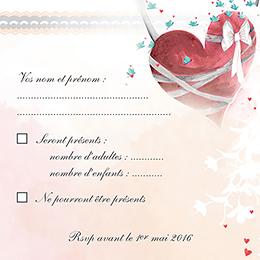 Carton réponse mariage Sensibilis coeur pas cher
