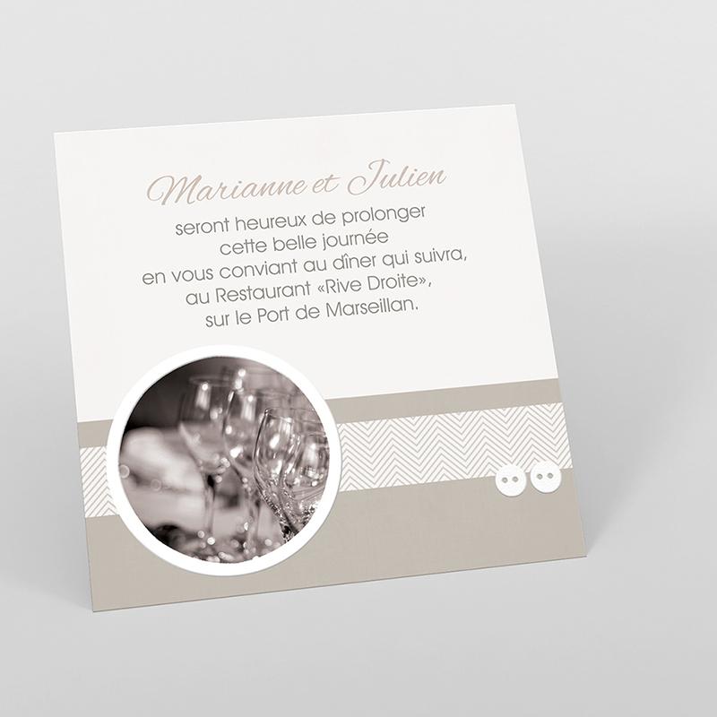 Carte d'invitation mariage Sépia