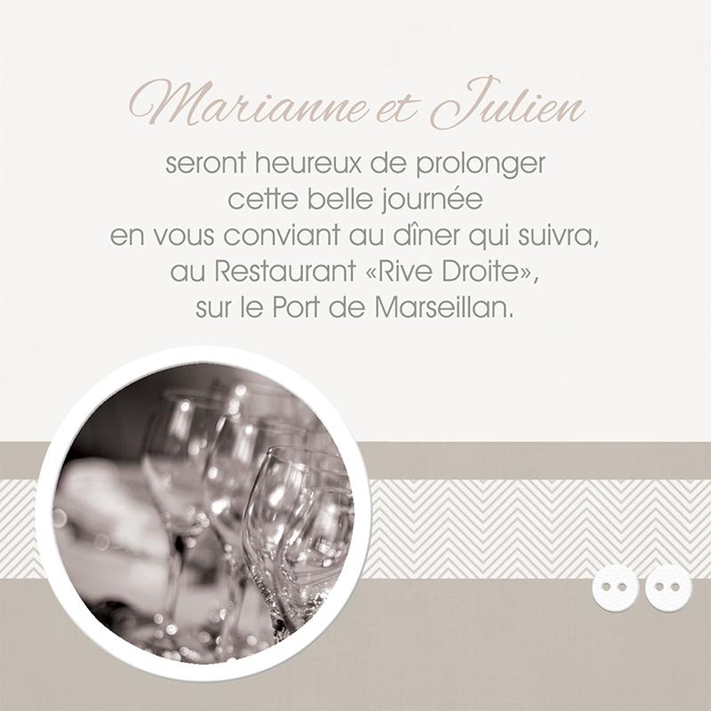 Carte d'invitation mariage Sépia  pas cher