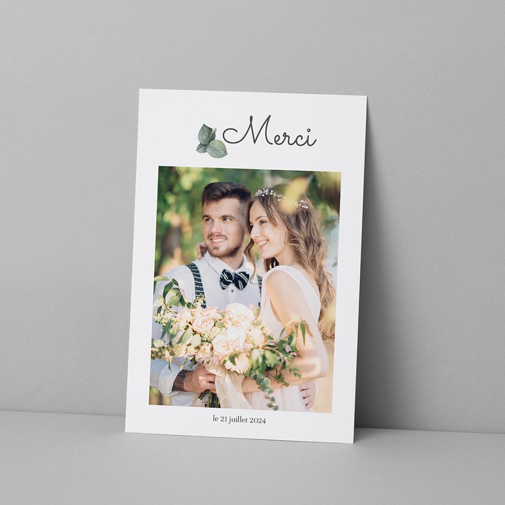 Carte de remerciement mariage Liège d'Eucalyptus