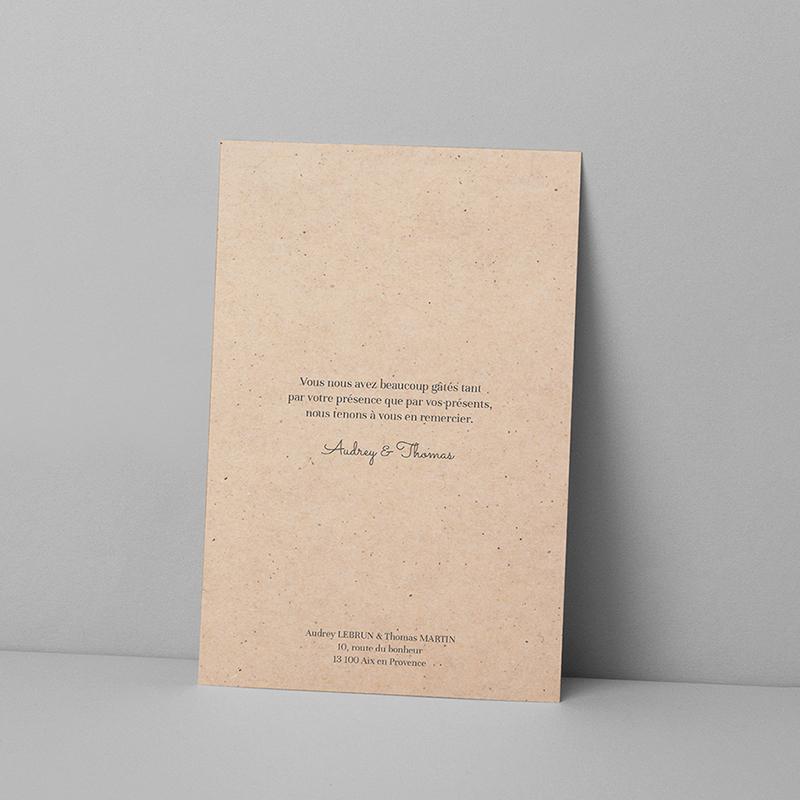 Carte de remerciement mariage Liège d'Eucalyptus pas cher