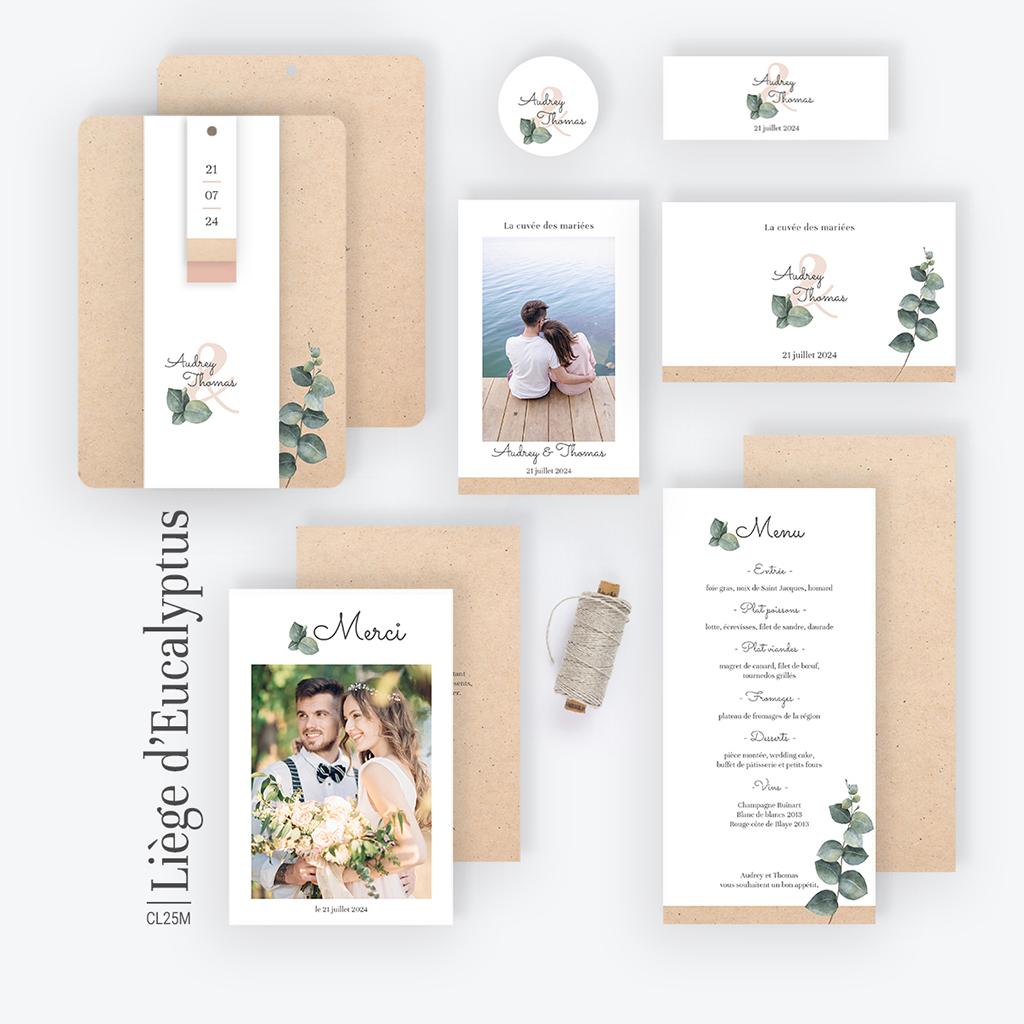 Carte de remerciement mariage Liège d'Eucalyptus gratuit
