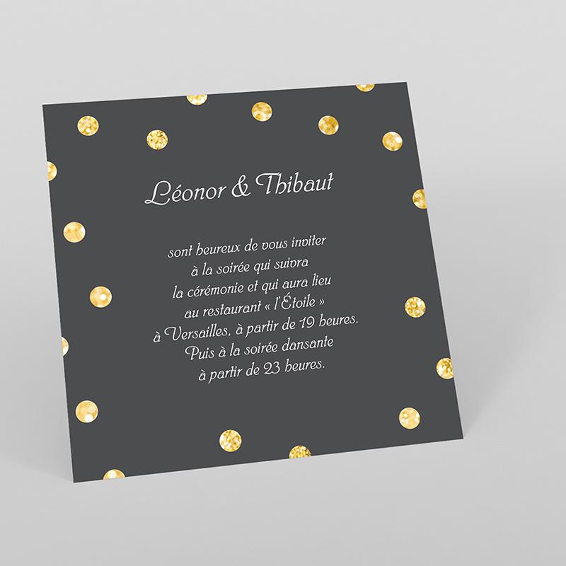 Carte d'invitation mariage Un jour d'amour noir or