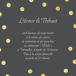 Carte d'invitation mariage Un jour d'amour noir or pas cher