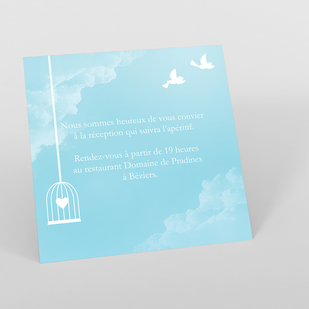 Carte d'invitation mariage Bleu ciel
