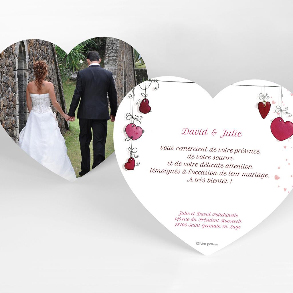 Carte de remerciement mariage Les Coeurs coeur