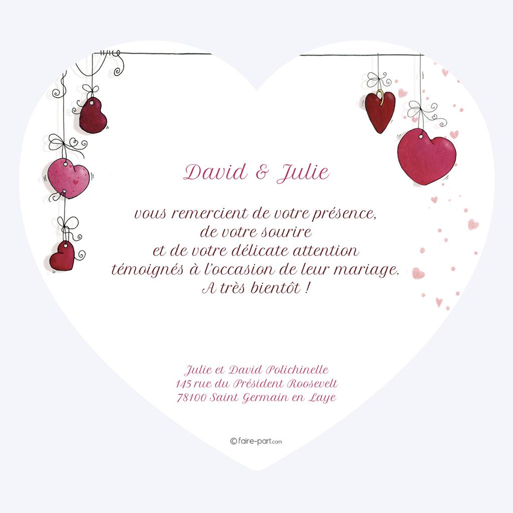 Carte de remerciement mariage Les Coeurs coeur gratuit