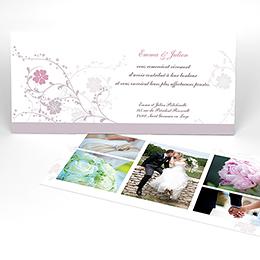 Carte de remerciement mariage Nuptial gris rose