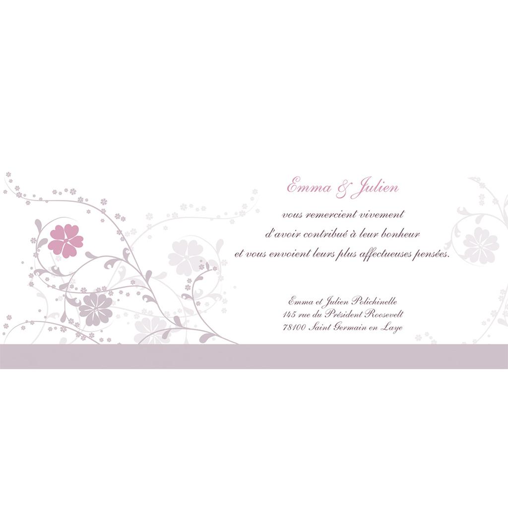 Carte de remerciement mariage Nuptial gris rose pas cher