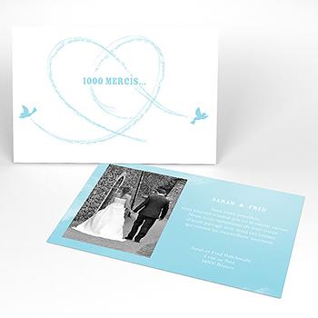 Carte de remerciement mariage Bleu ciel
