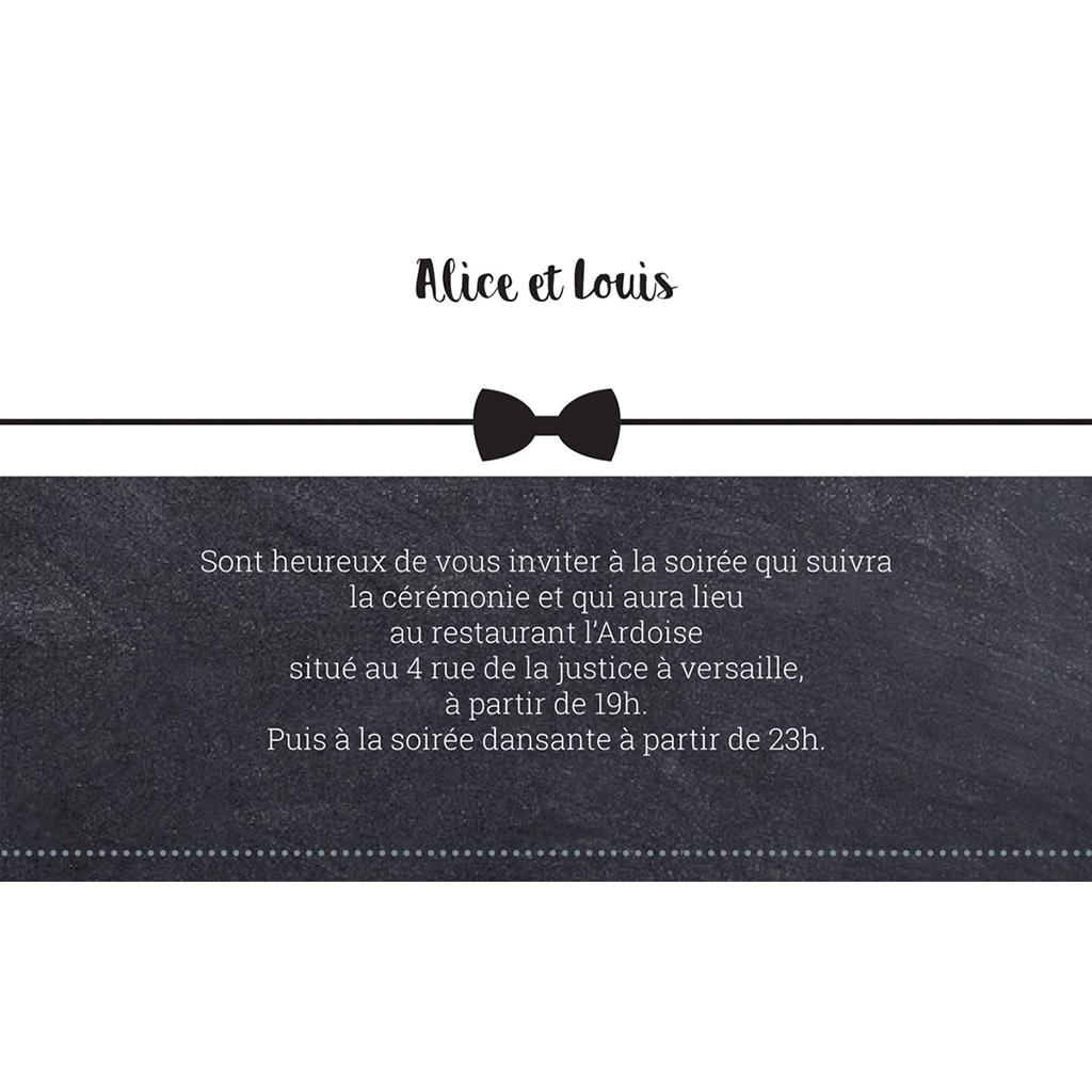 Carte d'invitation mariage Ardoise Chic pas cher
