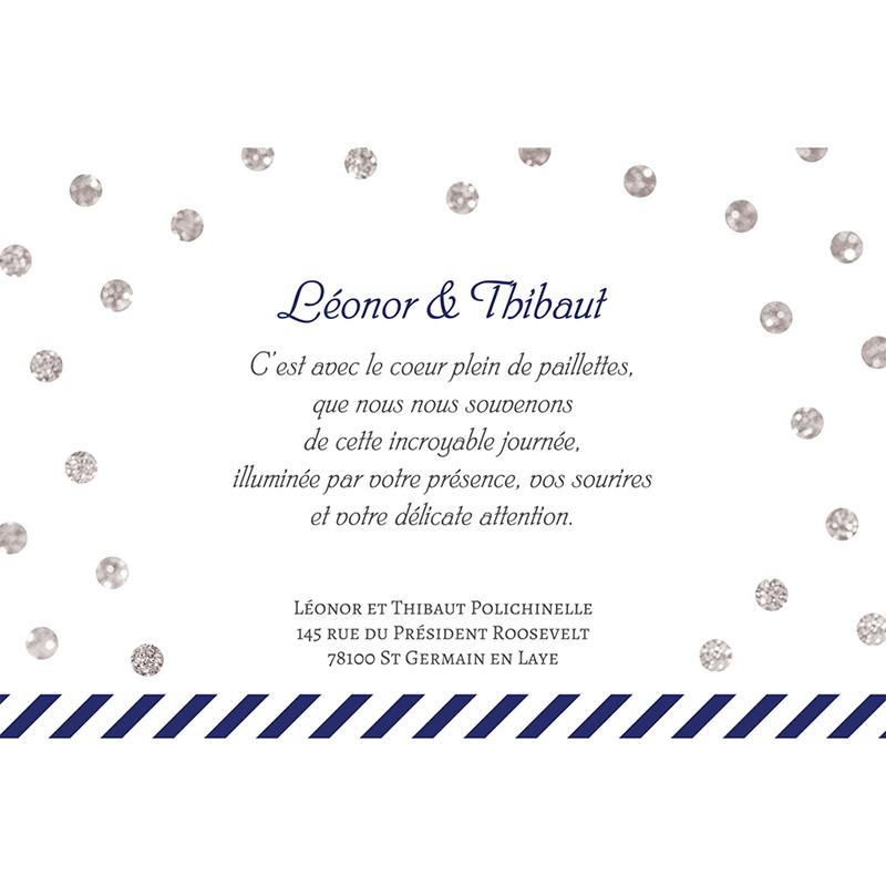 Carte de remerciement mariage Un jour d'amour bleu argent gratuit